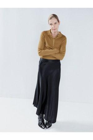 Raey Women Midi Skirts - Dip-hem Silk-satin Midi Slip Skirt - Womens