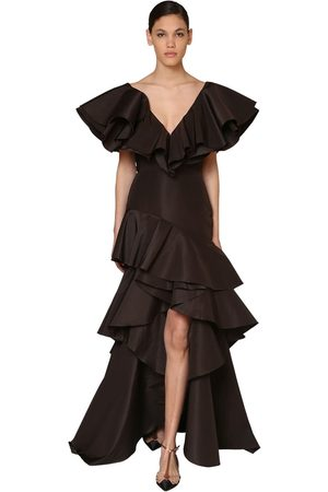 JOHANNA ORTIZ Ruffled Silk Faille Maxi Dress