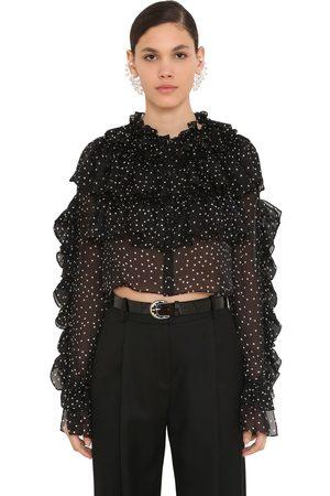 MAGDA BUTRYM Ruffled Polka Dot Silk Chiffon Shirt