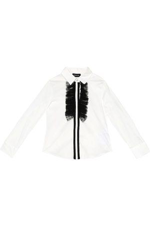 MONNALISA Embellished stretch-cotton shirt