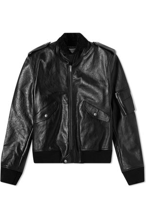 Saint Laurent Leather Shearling Bomber Jacket