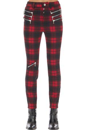 UNRAVEL Triple Zipped Plaid Skinny Pants