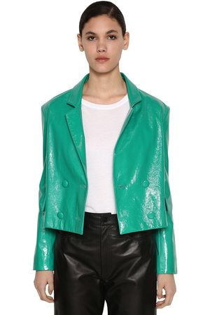 DROME Cropped Crackled Leather Jacket