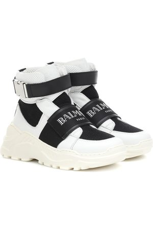 Balmain Mesh and leather sneakers