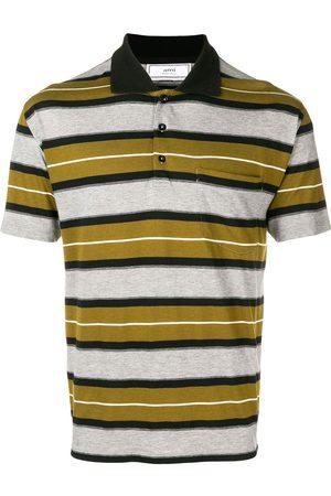 Ami Men Polo Shirts - Short Sleeve Striped Polo Shirt With Ami Label