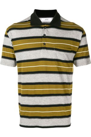 AMI Paris Men Polo Shirts - Short Sleeve Striped Polo Shirt With Ami Label