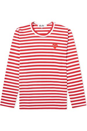 Comme des Garçons Comme des Garcons Play Women's Long Sleeve Heart Logo Stripe Tee