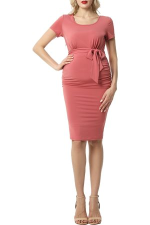 Kimi and Kai Women's Lana Ruched Belted Maternity Dress