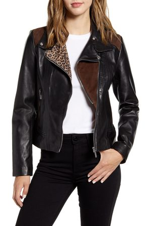Bernardo Women's Mixed Media Leather Moto Jacket