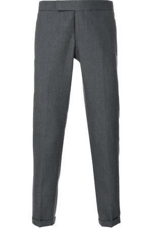 Thom Browne Engineered Striped Side Seam Solid Wool Twill Skinny Trouser - Grey