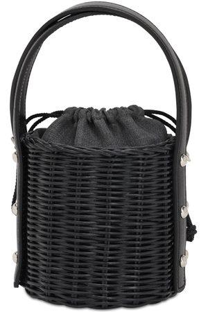 Wicker Wings Quan Rattan & Leather Bucket Bag