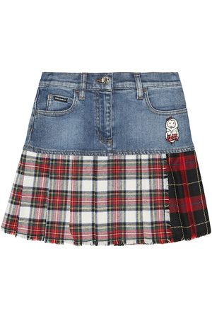 Dolce & Gabbana Plaid-trimmed denim skirt