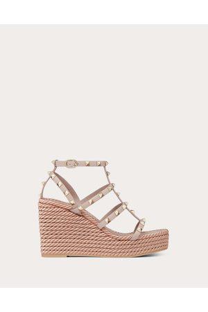 Valentino Rockstud Ankle Strap Wedge Sandal 95 Mm Women Poudre 100% Calfskin 36