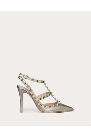 Valentino Rockstud Metallic Ankle Strap Pump 100 Mm Women Champagne 100% Calfskin 37