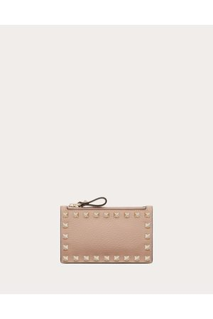 Valentino Rockstud Grainy Calfskin Coin Purse And Cardholder Women Poudre Calfskin 100% OneSize
