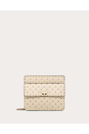Valentino Medium Rockstud Spike Nappa Leather Bag Women Light Ivory Lambskin 100% OneSize