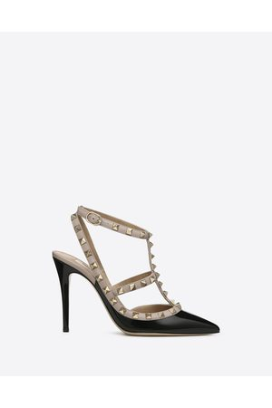 VALENTINO GARAVANI Women Pumps - Patent Rockstud Caged Pump 100mm Women /poudre Lambskin 100% 36.5