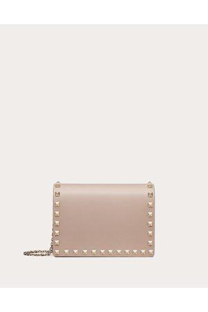 VALENTINO GARAVANI Women Bags - Rockstud Calfskin Chain Pouch Women Poudre 100% Pelle Di Vitello - Bos Taurus OneSize