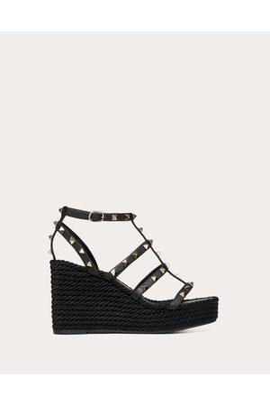 Valentino Rockstud Ankle Strap Wedge Sandal 95 Mm Women 100% Calfskin 37