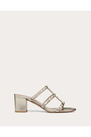 Valentino Rockstud Metallic Slide Sandal 60 Mm Women Champagne 100% Lambskin 37