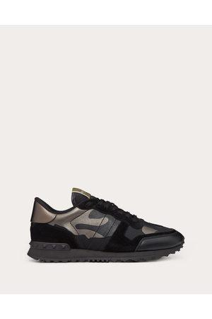 VALENTINO GARAVANI UOMO Rockrunner Camouflage Noir Metallic Sneaker Man Lambskin 50%, Cotton 30%, Polyester 20% 43.5