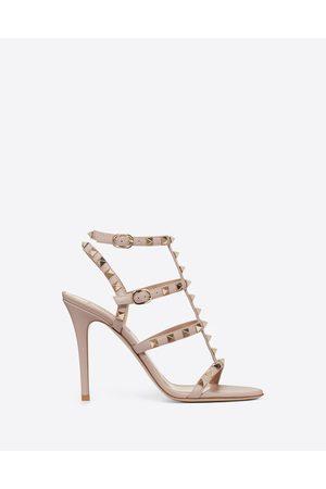 VALENTINO GARAVANI Rockstud Calfskin Ankle Strap Sandal 100 Mm Women Poudre Calfskin 100% 40.5