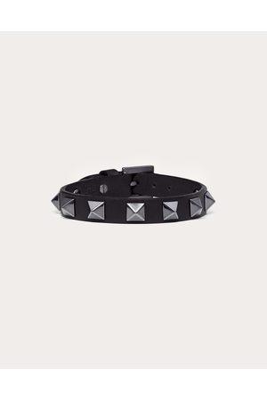 VALENTINO GARAVANI UOMO Rockstud Leather Bracelet With Ruthenium Studs Man 100% Calfskin OneSize