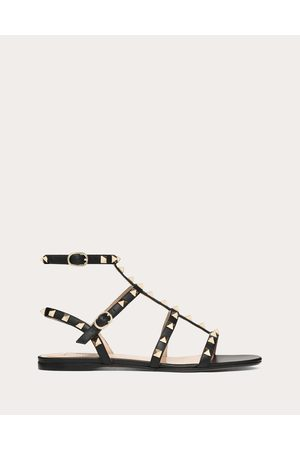 Valentino Rockstud Calfskin Ankle Strap Flat Sandal Women 100% Calfskin 38