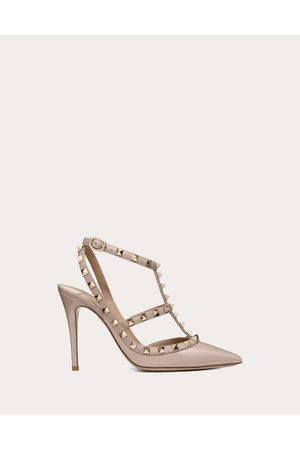 VALENTINO GARAVANI Women Pumps - Patent Rockstud Caged Pump 100mm Women Poudre Lambskin 20%, Metallic Fiber 10% 40