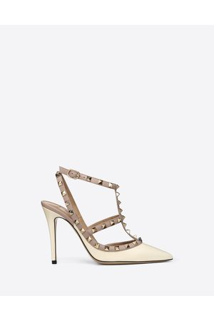 VALENTINO GARAVANI Women Pumps - Patent Rockstud Caged Pump 100mm Women Light Ivory/poudre Lambskin 100% 35.5