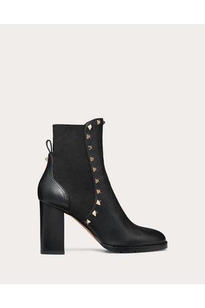 VALENTINO GARAVANI Women Ankle Boots - Rockstud Grainy Calfskin Ankle Boot 80 Mm Women Polyester 74%, Elastane 26% 40.5