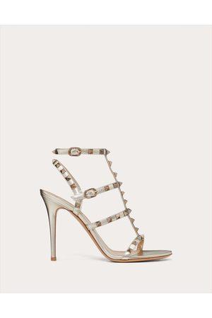 Valentino Rockstud Metallic Ankle Strap Sandal 100 Mm Women Champagne 100% Lambskin 39.5