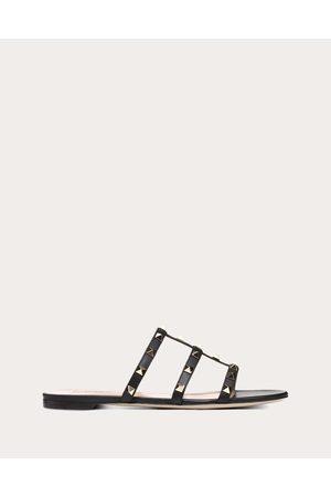 Valentino Rockstud Flat Slide Sandal Women 100% Calfskin 35