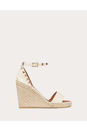Valentino Rockstud Double Grainy Calfskin Wedge Sandal 95 Mm Women Ivory 100% Calfskin 37