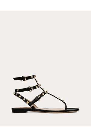 Valentino Rockstud Flat Sandal Women 100% Calfskin 35.5