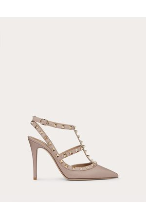 Valentino Rockstud Grainy Leather Ankle Strap Pump 100 Mm Women Poudre Calfskin 100% 36.5