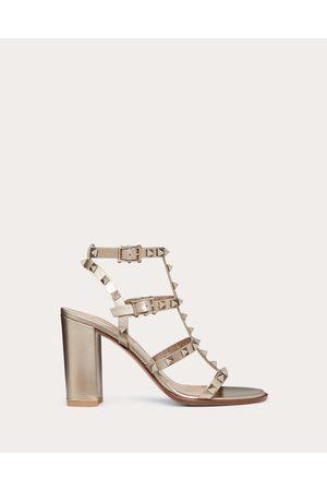Valentino Rockstud Metallic Ankle Strap Sandal 90 Mm Women Champagne 100% Calfskin 37