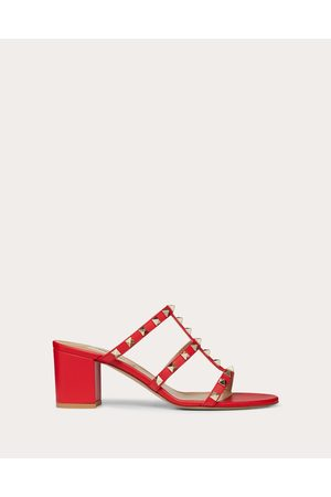 Valentino Rockstud Calfskin Leather Slide Sandal 60 Mm Women Rouge Pur 100% Lambskin 41
