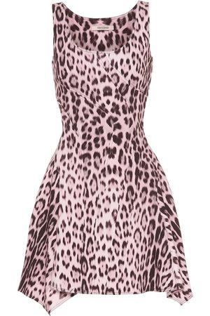 Roberto Cavalli Leopard-print denim minidress