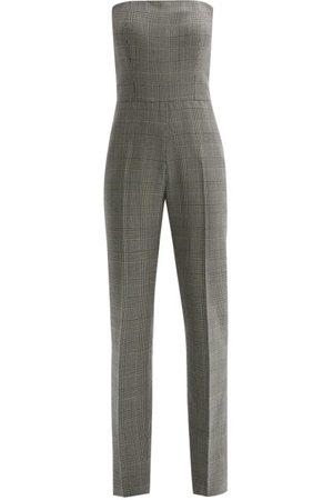 Pallas Paris Fatale Prince Of Wales-check Strapless Jumpsuit - Womens - Grey Multi