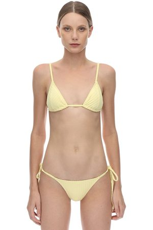 Peony Banana Triangle Ribbed Bikini Top