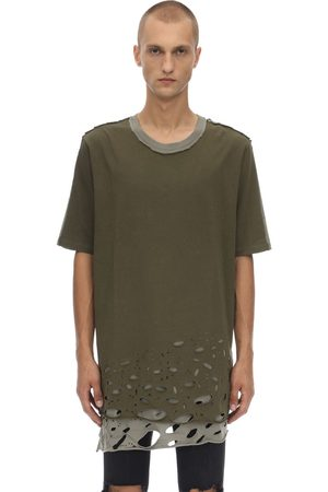 FAITH CONNEXION Men T-shirts - Distressed Cotton Jersey T-shirt