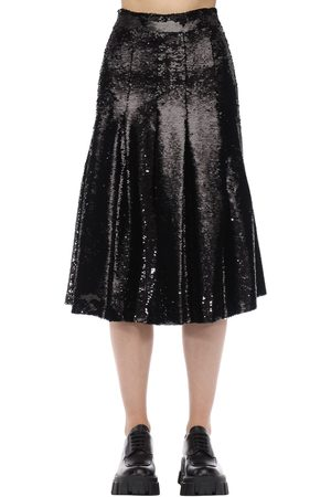 Simone Rocha Sequined Pleated Flared Midi Skirt