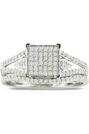 SuperJeweler 1/3 Carat Diamond Princess Cut Bridal Engagement Ring Set in Sterling