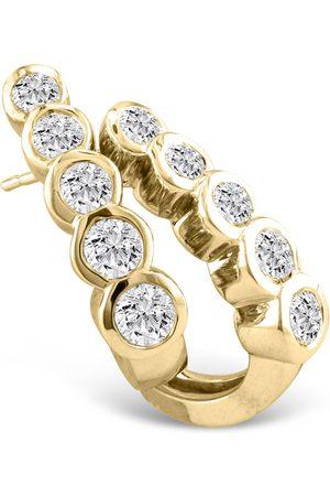 Hansa 1 Carat Bezel Set Journey Diamond Hoop Earrings in 14k (8 g)