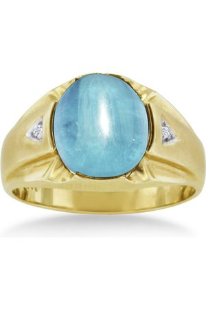 SuperJeweler 4 1/2 Carat Oval Cabochon Blue Topaz & Diamond Men's Ring Crafted in Solid 14K