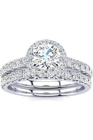 SuperJeweler 1/2 Carat Pave Halo Diamond Bridal Engagement Ring Set in 14k