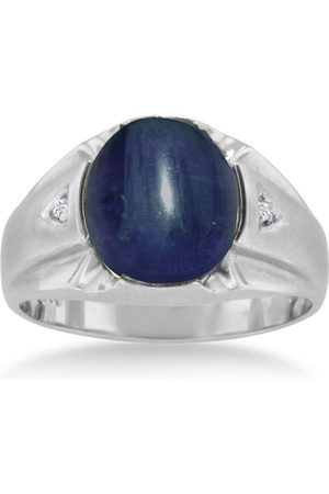 SuperJeweler 4 1/2 Carat Oval Cabochon Created Sapphire & Diamond Men's Ring Crafted in Solid 14K