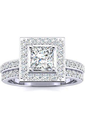 SuperJeweler 1.5 Carat Princess Cut Floating Pave Halo Diamond Bridal Engagement Ring Set in 14k