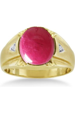 SuperJeweler 4 1/2 Carat Oval Cabochon Created Ruby & Diamond Men's Ring Crafted in Solid 14K